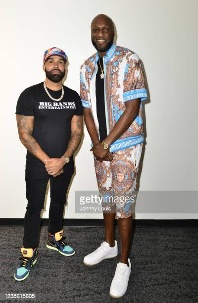 Rapper Ryan Banks and Lamar Odom attend the Celebrity Boxing Press Conference at James L. Knight Center on September 30, 2021 in Miami, Florida....