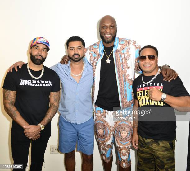 Rapper Ryan Banks, Haroon Kamal, Lamar Odom and Micah Khan attend the Celebrity Boxing Press Conference at James L. Knight Center on September 30,...