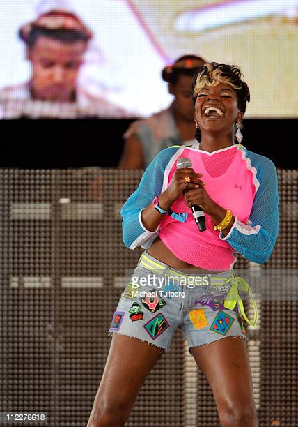 Rapper Rye Rye aka Ryeisha Berrain performs during Day 2 of the Coachella Valley Music Arts Festival 2011 held at the Empire Polo Club on April 16...