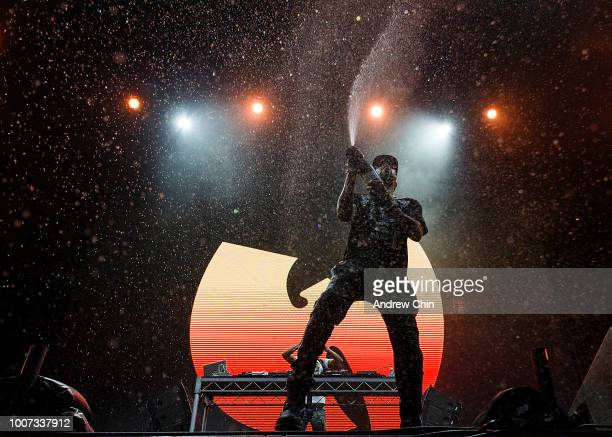 Rapper RZA of WuTang Clan performs on stage during day 2 of Center Of Gravity 2018 at Kelowna City Park on July 28 2018 in Kelowna Canada