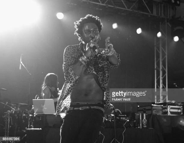 Rapper SAINt JOHN performs onstage at the Mass Appeal music showcase during 2017 SXSW Conference and Festivals at Stubbs on March 16 2017 in Austin...
