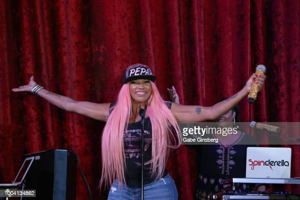 Rapper Sandra Pepa Denton of SaltNPepa performs during an announcement for the I LOVE THE '90s THE VEGAS SHOW residency at Le Cabaret at Paris Las...