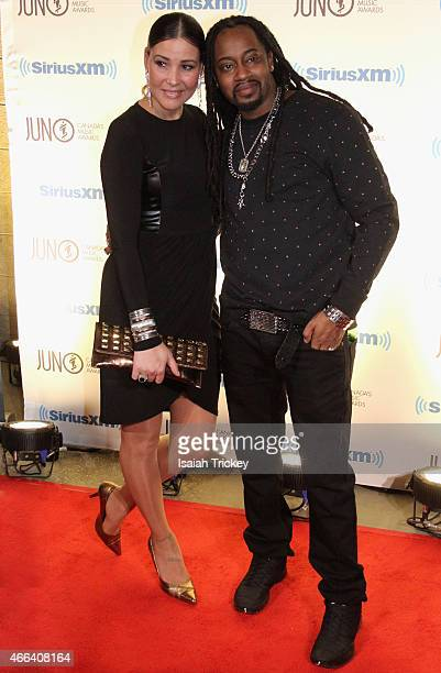 Rapper Saukrates and Alana Wyatt arrive at the JUNO Gala Dinner Awards at Hamilton Convention Centre on March 14 2015 in Hamilton Canada