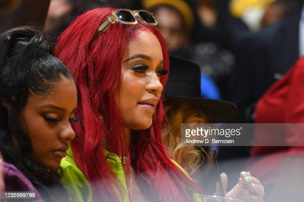 Rapper, Saweetie attends a game between the Golden State Warriors and the Los Angeles Lakers on October 19, 2021 at STAPLES Center in Los Angeles,...