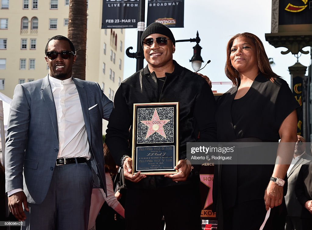 Rapper Sean 'Diddy' Combs, rapper/actor LL Cool J and Queen Latifah attend a ceremony honoring LL Cool J with the 2,571st Star on The Hollywood Walk of Fame on January 21, 2016 in Hollywood, California.