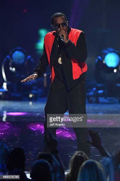 Rapper Sean 'Pudd Daddy' Combs performs onstage at the 2015 iHeartRadio Music Festival Night 2 at the MGM Grand Garden Arena on September 19 2015 in...
