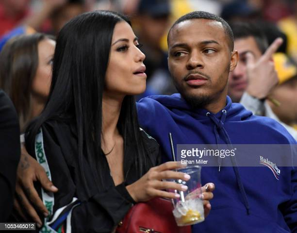 Rapper Shad Bow Wow Moss attends a preseason game between the Golden State Warriors and the Los Angeles Lakers at TMobile Arena on October 10 2018 in...