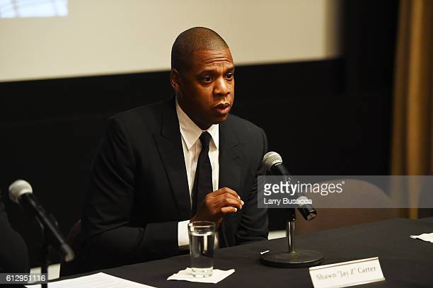 Rapper Shawn 'JAY Z' Carter participates in a panel discussion during Shawn 'JAY Z' Carter the Weinstein Company and Spike TV's announcement of a...