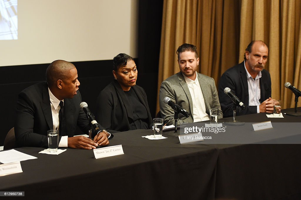 Rapper Shawn 'JAY Z' Carter, Venida Browder, filmmaker Jenner Furst, and actor Nick Sandow participate in a panel discussion during Shawn 'JAY Z' Carter, the Weinstein Company and Spike TV's announcement of a documentary event series on Kalief Browder on October 6, 2016 in New York City.