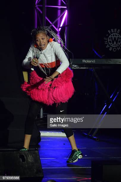 Rapper Sho Madjozi performs during the June 16 Youth Day Celebration concert at Time Square Sun Arena on June 16 2018 in Pretoria South Africa The...