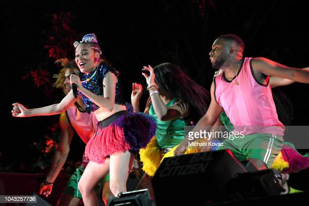 Rapper Sho Madjozi performs onstage during the 2018 Global Citizen Concert at Central Park Great Lawn on September 29 2018 in New York City