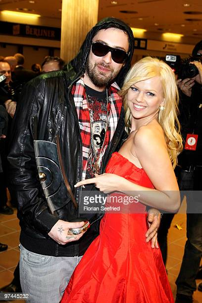 Rapper Sido and girlfried singer Doreen Steinert attend the aftershowparty of the Echo Award 2010 at Messe Berlin on March 4 2010 in Berlin Germany