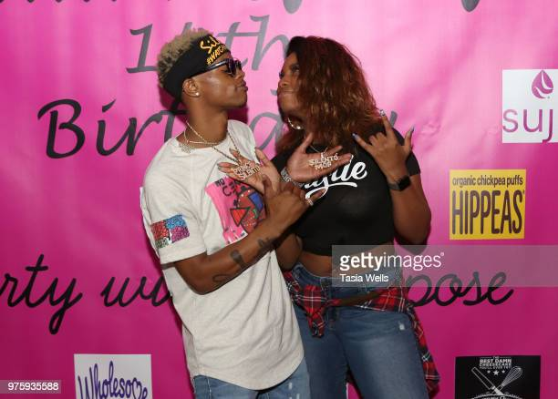Rapper Silento and musical artist Tyeler Reign attend Jillian Estell's red carpet birthday party with a purpose benefitting The Celiac Disease...