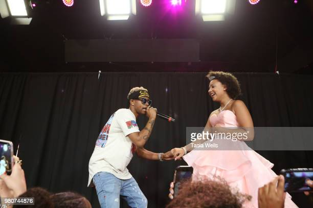 Rapper Silento performs onstage with Jillian Estell at Jillian Estell's red carpet birthday party with a purpose benefitting The Celiac Disease...
