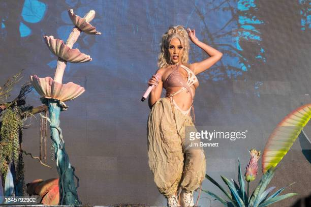 Rapper, singer and songwriter Doja Cat performs on stage during weekend two of the Austin City Limits Festival at Zilker Park on October 09, 2021 in...