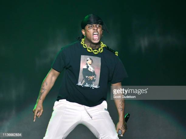 Rapper Ski Mask the Slump God performs onstage at The Forum on January 31, 2019 in Inglewood, California.
