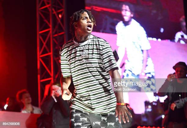Rapper Ski Mask the Slump God performs onstage at the Rolling Loud Festival at NOS Events Center on December 16 2017 in San Bernardino California
