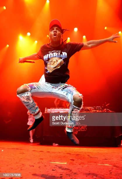 Rapper Ski Mask the Slump God performs onstage during the 2018 XXL Magazine Freshman Class concert at The Novo by Microsoft on July 19, 2018 in Los...