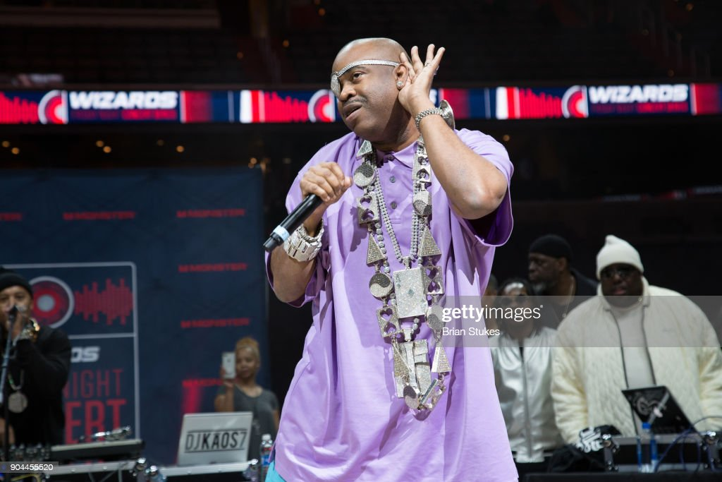 Rapper Slick Rick performs live for Washington Wizard Concert Series - Hip Hop Night at Capital One Arena on January 12, 2018 in Washington, DC.