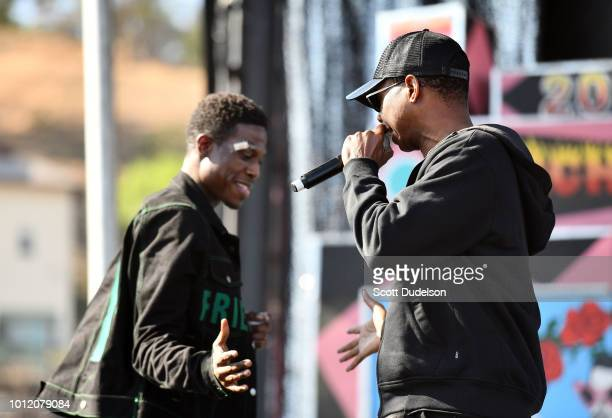 Rapper Slim OG and his father Doug E  Fresh perform onstage during
