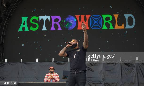 Rapper Slim Thug and DJ Snoop perform onstage during Travis Scott's inaugural Astroworld Festival at NRG Park on November 17 2018 in Houston Texas