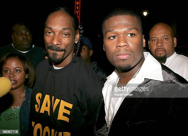 Rapper Snoop Dogg and actor/Singer Curtis 50 Cent Jackson arrive at the Premiere Of Get Rich Or Die Trying at Grauman's Chinese Theater on November 2...