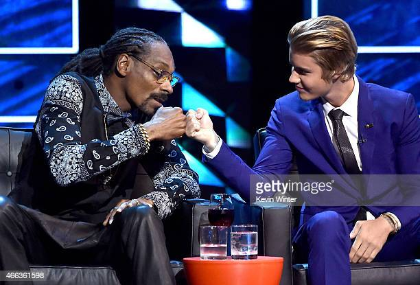 Rapper Snoop Dogg and honoree Justin Bieber onstage at The Comedy Central Roast of Justin Bieber at Sony Pictures Studios on March 14, 2015 in Los...