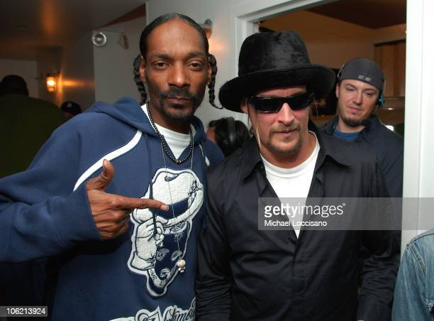 """Rapper Snoop Dogg and musician Kid Rock attend MTV's TRL """"Total Finale Live"""" at the MTV Studios in Times Square on November 16, 2008 in New York City."""