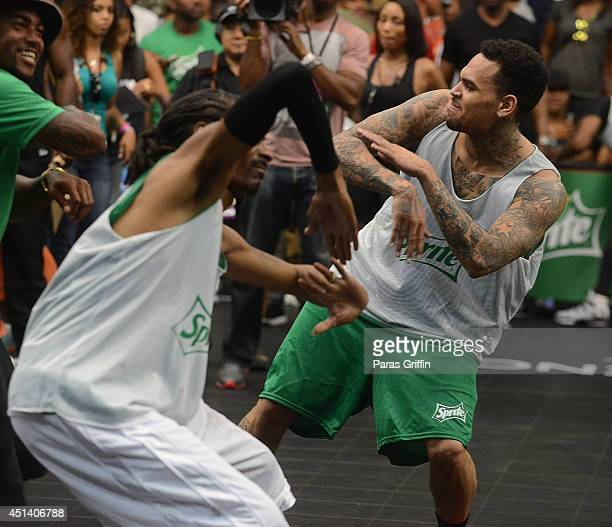 Rapper Snoop Dogg and singer Chris Brown attend the Sprite Celebrity Basketball Game during the 2014 BET Experience At LA LIVE on June 28 2014 in Los...
