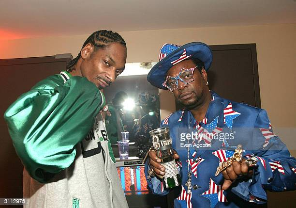 Rapper Snoop Dogg and the Bishop Don Juan pose backstage at the Comedy Central Bar Mitzvah Bash in the Hammerstein Ballroom at Manhattan Center...