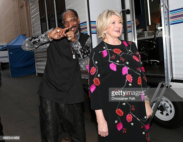 Rapper Snoop Dogg and TV personality Martha Stewart attend The Comedy Central Roast of Justin Bieber at Sony Pictures Studios on March 14 2015 in Los...