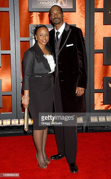 Rapper Snoop Dogg and wife Shante Broadus arrive at the 13th ANNUAL CRITICS' CHOICE AWARDS at the Santa Monica Civic Auditorium on January 7, 2008 in...