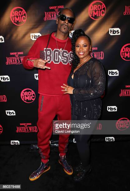 Rapper Snoop Dogg and wife Shante Broadus attend the premiere for TBS's Drop The Mic and The Joker's Wild at The Highlight Room on October 11 2017 in...