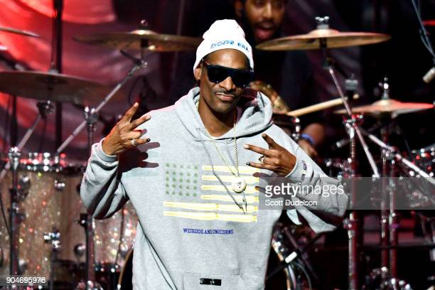 Rapper Snoop Dogg appears as a special guest during the RB Rewind Festival at Microsoft Theater on January 13 2018 in Los Angeles California