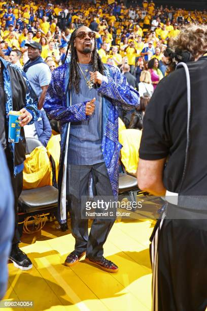 Rapper Snoop Dogg attends Game Five of the 2017 NBA Finals between the Cleveland Cavaliers and the Golden State Warriors on June 12 2017 at Oracle...