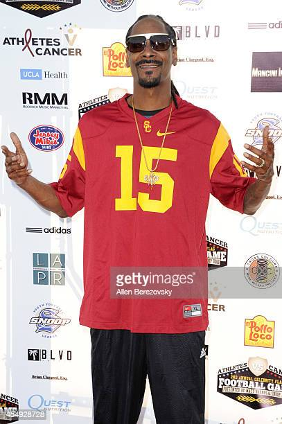 Rapper Snoop Dogg attends the 2nd Annual Celebrity Flag Football Game benefiting Athletes VS Cancer at Granada Hills Charter High School on September...