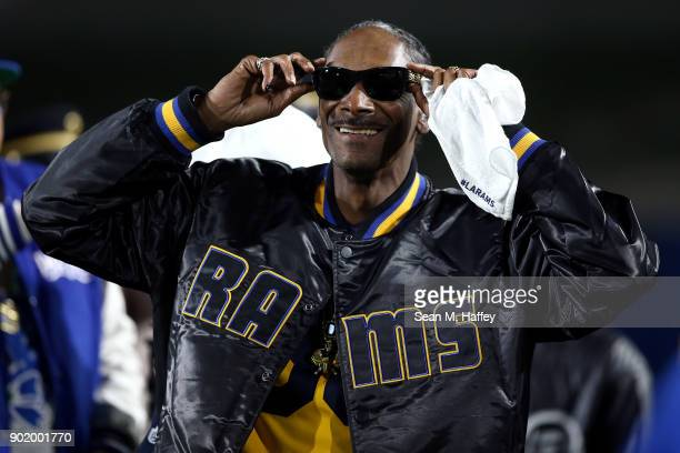 Rapper Snoop Dogg attends the NFC Wild Card Playoff Game between the Los Angeles Rams and Atlanta Falcons at the Los Angeles Coliseum on January 6...