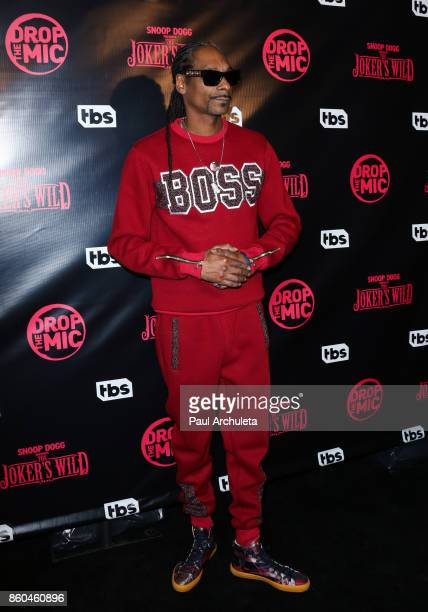 "Rapper Snoop Dogg attends the premiere for TBS's ""Drop The Mic"" and ""The Joker's Wild"" at The Highlight Room on October 11, 2017 in Los Angeles,..."