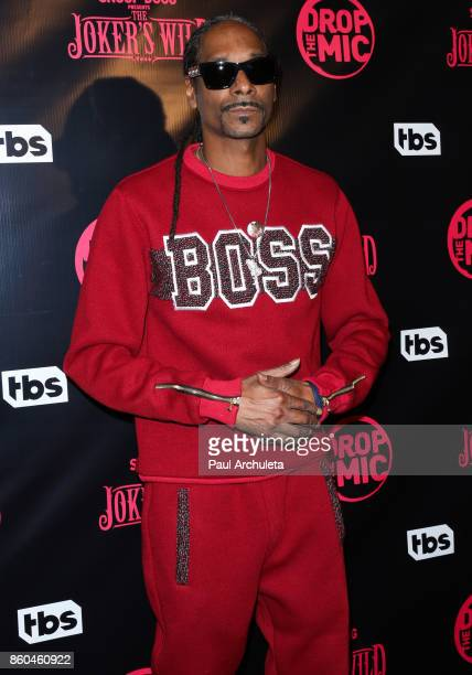 Rapper Snoop Dogg attends the premiere for TBS's Drop The Mic and The Joker's Wild at The Highlight Room on October 11 2017 in Los Angeles California