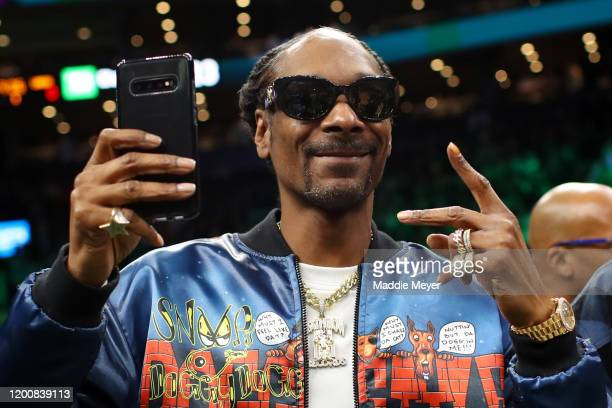 Rapper Snoop Dogg courtside before the game between the Boston Celtics and the Los Angeles Lakers at TD Garden on January 20 2020 in Boston...
