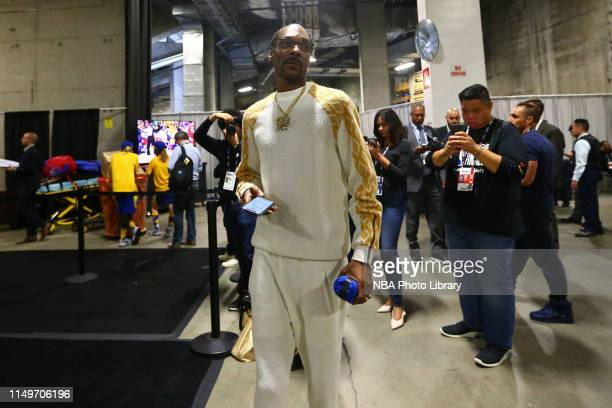 Rapper Snoop Dogg exits the arena during Game Four of the 2019 NBA Finals on June 7 2019 at ORACLE Arena in Oakland California NOTE TO USER User...
