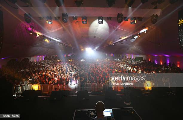 Rapper Snoop Dogg performs at the 2017 NHL AllStar Saturday Night Party at the Event Deck LA Live on January 28 2017 in Los Angeles California