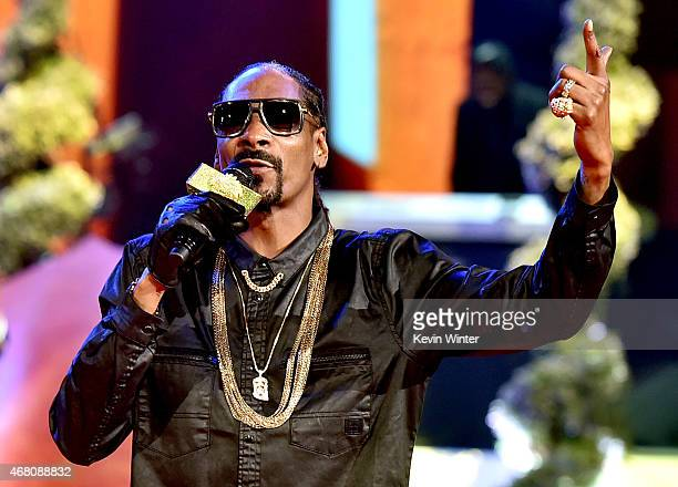 Rapper Snoop Dogg performs onstage during the 2015 iHeartRadio Music Awards which broadcasted live on NBC from The Shrine Auditorium on March 29 2015...