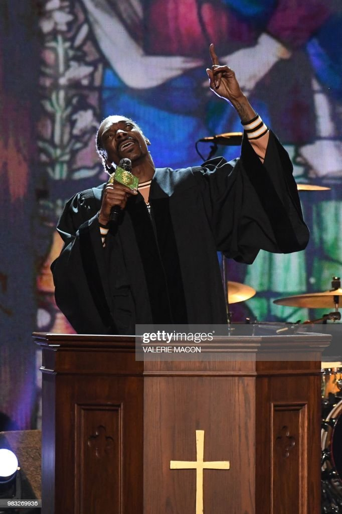 US rapper Snoop Dogg performs onstage during the BET Awards at Microsoft Theatre in Los Angeles, California, on June 24, 2018.