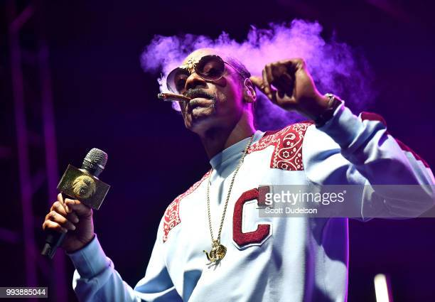 Rapper Snoop Dogg performs onstage during the Summertime in the LBC music festival on July 7 2018 in Long Beach California