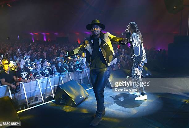 Rapper Snoop Dogg performs onstage joined by PK Subban at the 2017 NHL AllStar Saturday Night Party at the Event Deck LA Live on January 28 2017 in...
