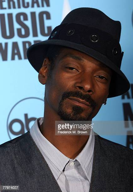 Rapper Snoop Dogg poses in the press room at the 2007 American Music Awards held at the Nokia Theatre LA LIVE on November 18 2007 in Los Angeles...