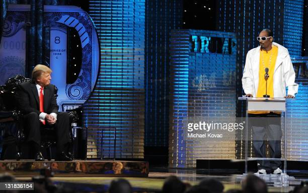 Rapper Snoop Dogg roasts Donald Trump onstage at the Comedy Central Roast Of Donald Trump at the Hammerstein Ballroom on March 9 2011 in New York City
