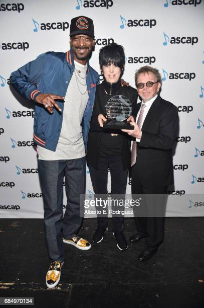 Rapper Snoop Dogg songwriter Diane Warren and ASCAP President Paul Williams backstage at the 2017 ASCAP Pop Awards at The Wiltern on May 18 2017 in...