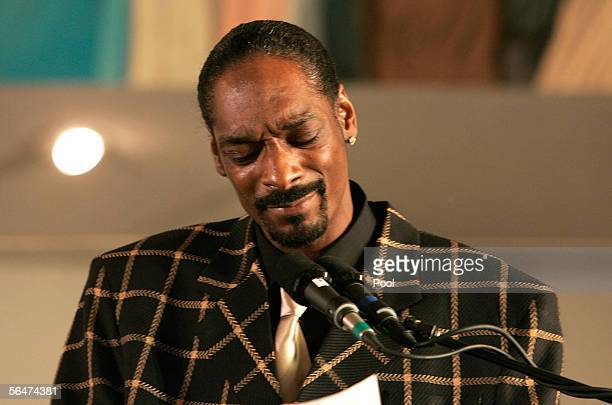 Rapper Snoop Dogg speaks during the memorial service for executed cofounder of the Crips gang Stanley Tookie Williams at the Bethel AME Church...